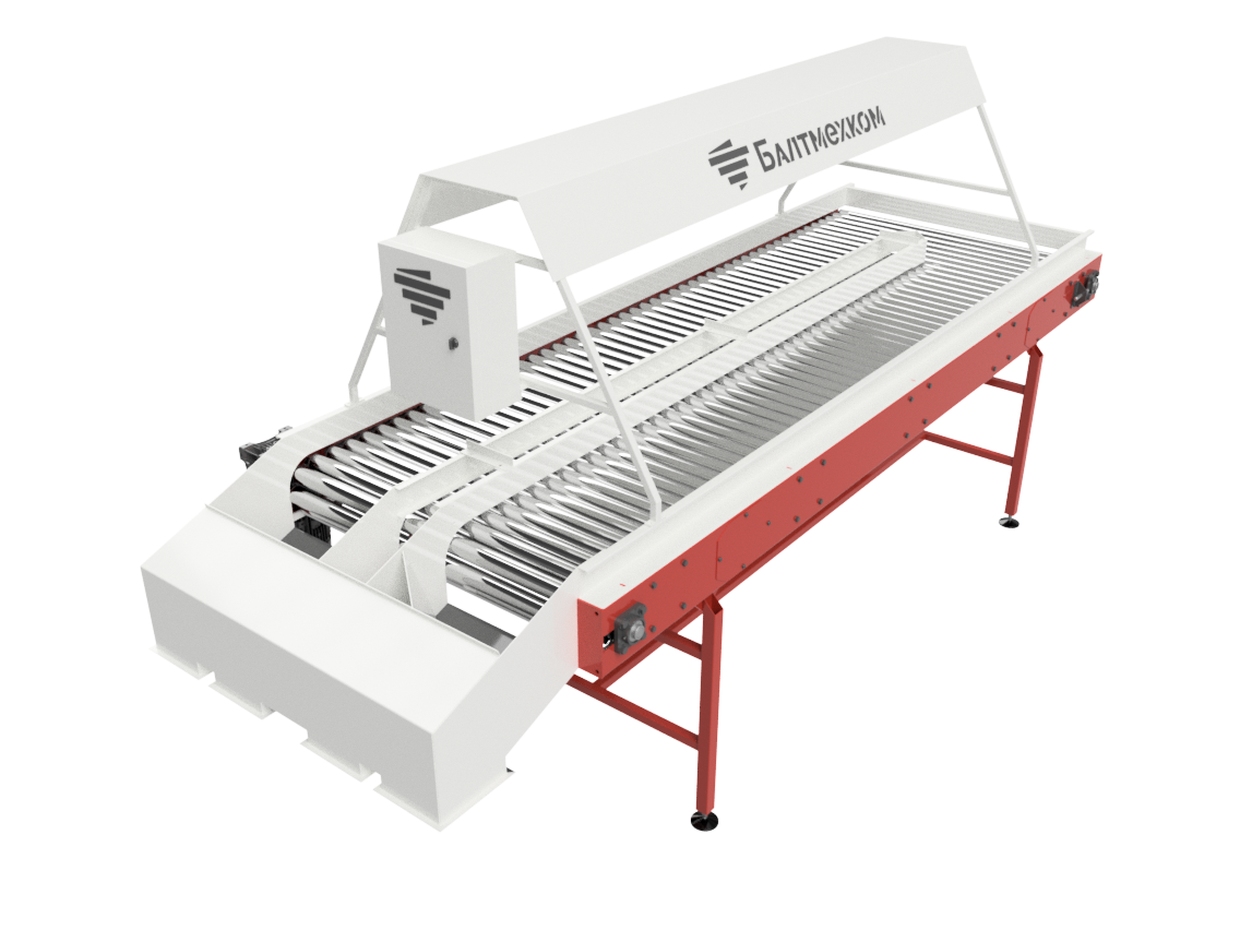 Inspection roller conveyor for vegetables